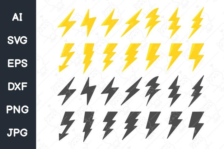 Flat lightning icon set. Simple lightning design. svg file