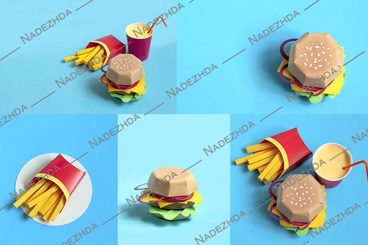 Paper hamburger, french fries in box and drink drink