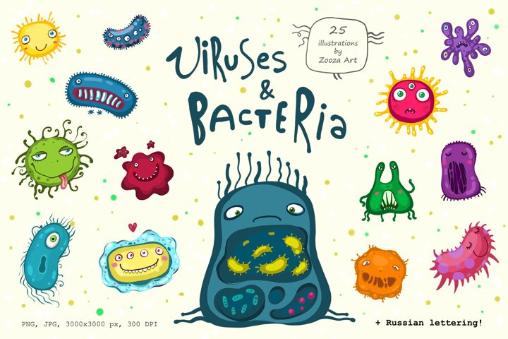 Viruses and bacteria illustrations