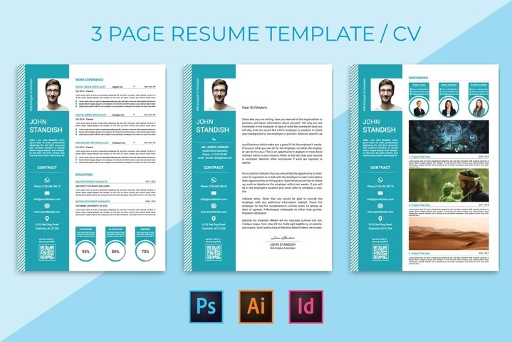 CV / resume cover letter and portfolio page template.
