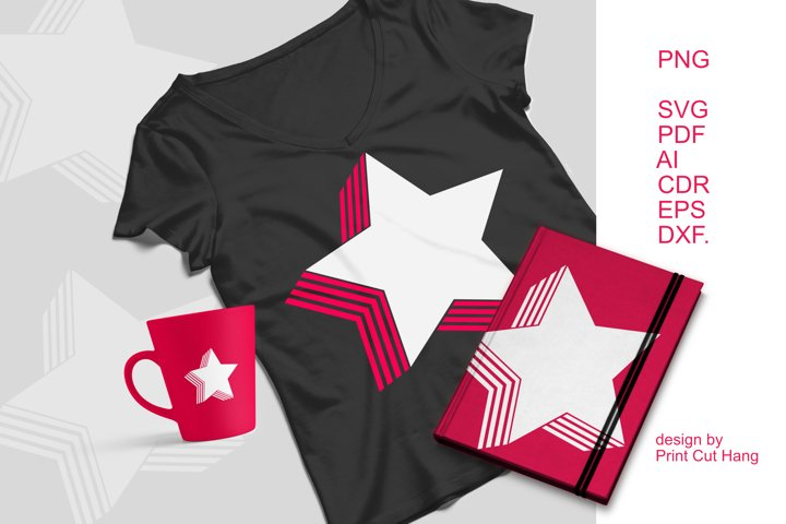 SVG Star With Striped Shadow Clipart