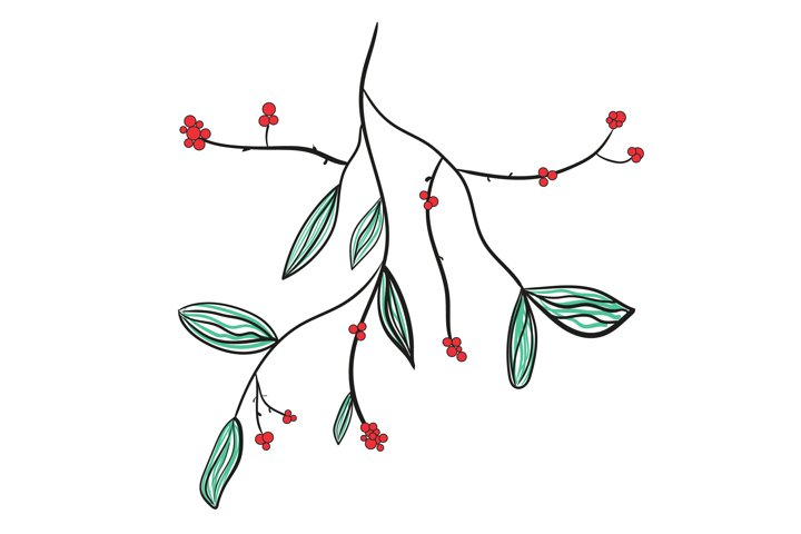 Doodle christmas branche isolated vector illustration.