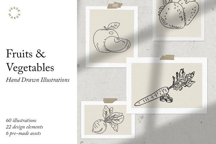 Fruits & Vegetables Illustrations