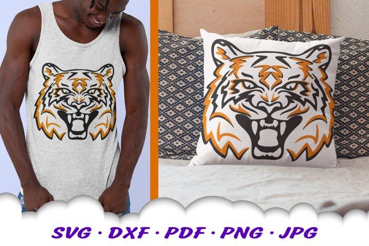 Tiger Mascot Sports Team SVG DXF Cut Files