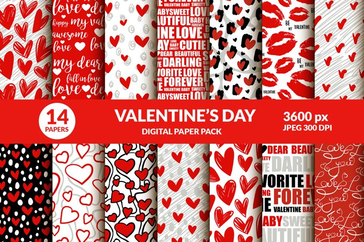 Valentines Day Digital Paper Pack. Lips Kisses, Hearts, Type