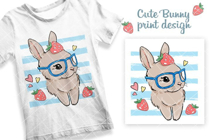 Cute Bunny on a striped background with strawberry.