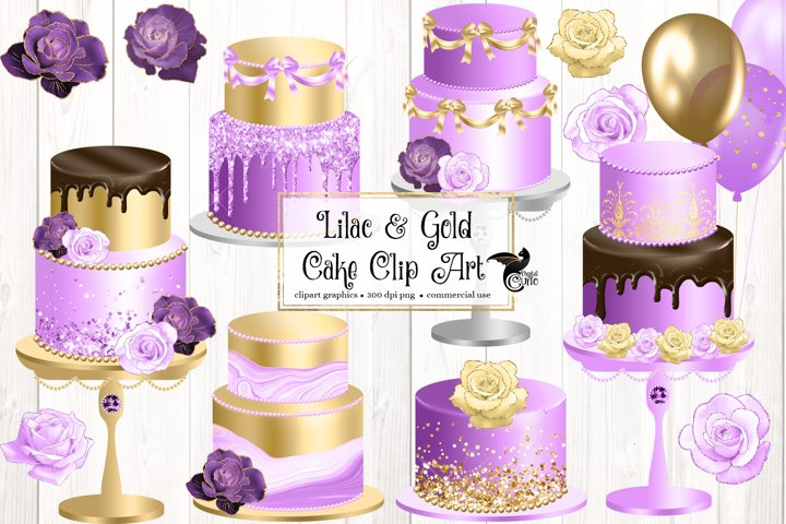 Lilac and Gold Cakes Clipart