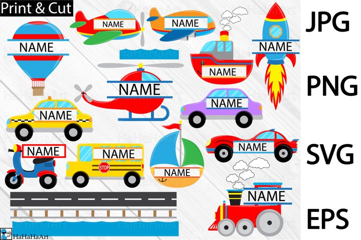 Split Fun Transportation - Clip art / Cutting Files 409c