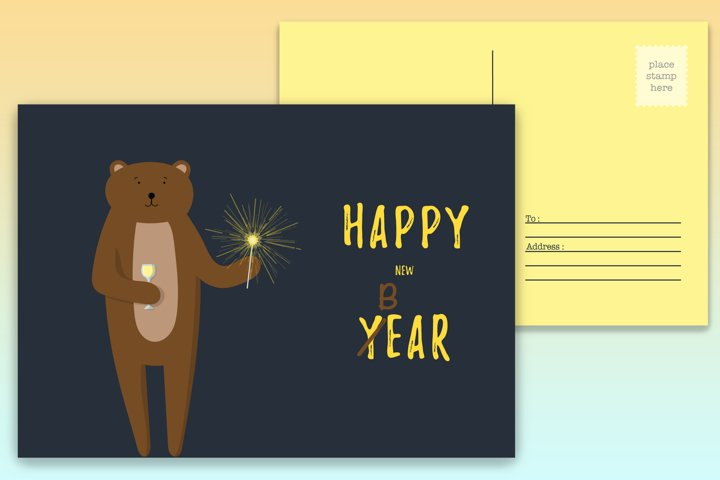 New Year postcard with cute bear