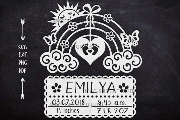 Baby Birth announcement card paper cut laser cut template