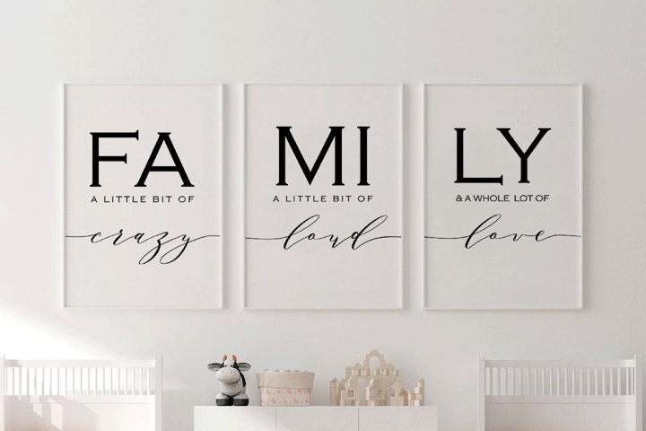 Set of 3, Family sign,Family a little bit of crazy print