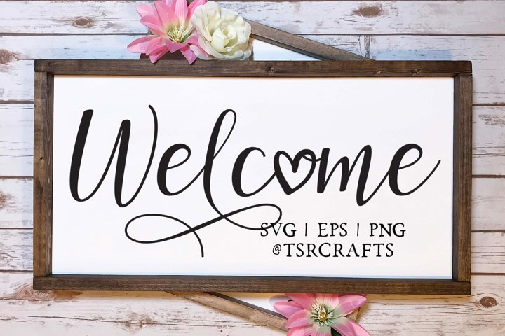 Welcome with heart svg cut file and png clip art set