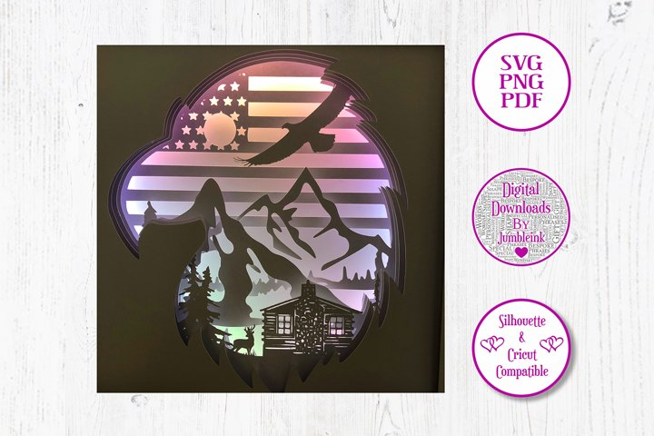 American Eagle - 3D Paper Cut Template Light Box