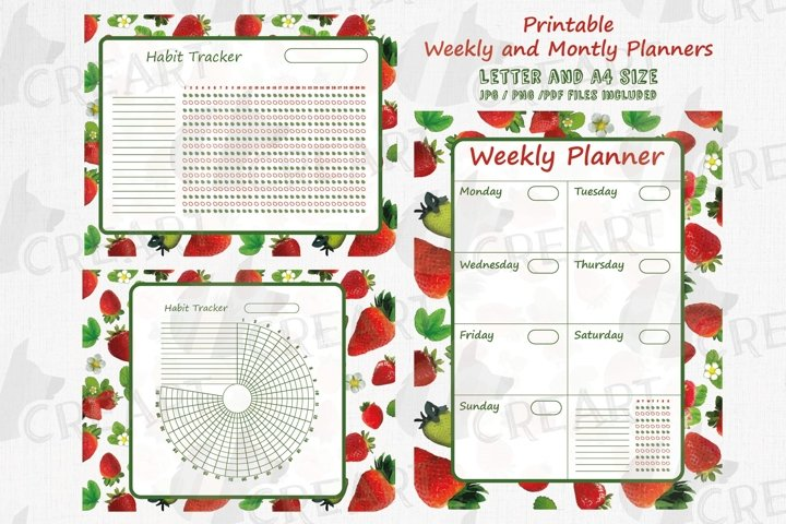 Printable strawberries mood and habit trackers and planners