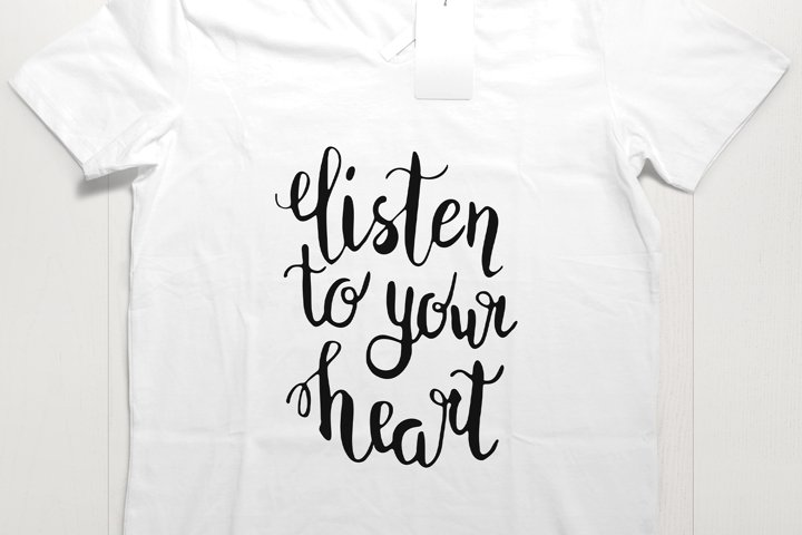 Listen to your heart lettering SVG PNG EPS JPG
