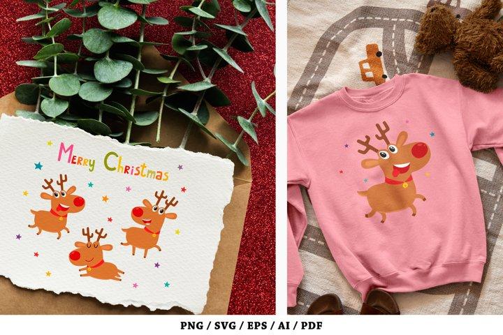 Cute Christmas reindeers, Merry Christmas - SVG, PNG