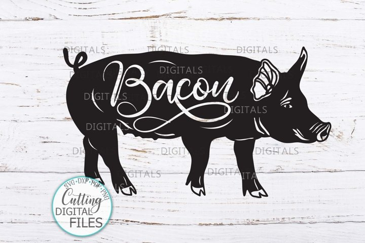 Pig with Bacon word svg dxf cricut cut file farmhouse sign