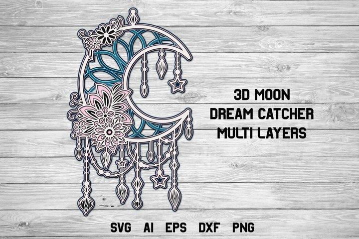 3d Layered Moon Dream Catcher| Multi Layer Boho SVG Cut File