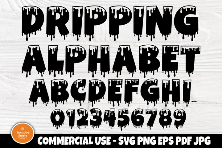 Dripping Font SVG, Dripping Letters, Alphabet Clipart
