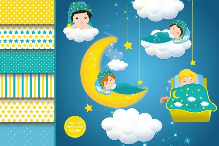 Sleepover boy illustration, Sleepover boy digital papers