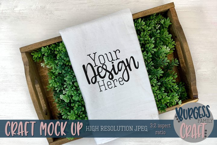 Greenery flour sack towel | Craft mock up