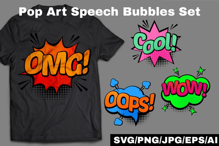 Comic Pop art Speech Bubbles Set