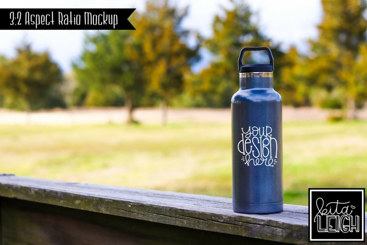 Stainless Steel Graphite Sports Water Bottle Mockup