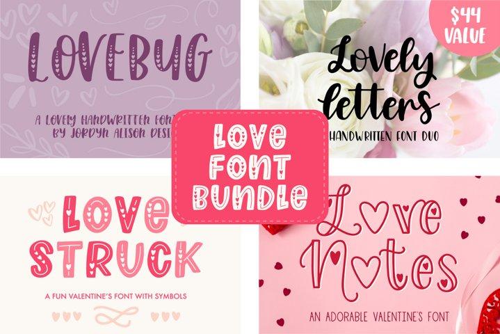 Valentines Font Bundle, 4 Font Families