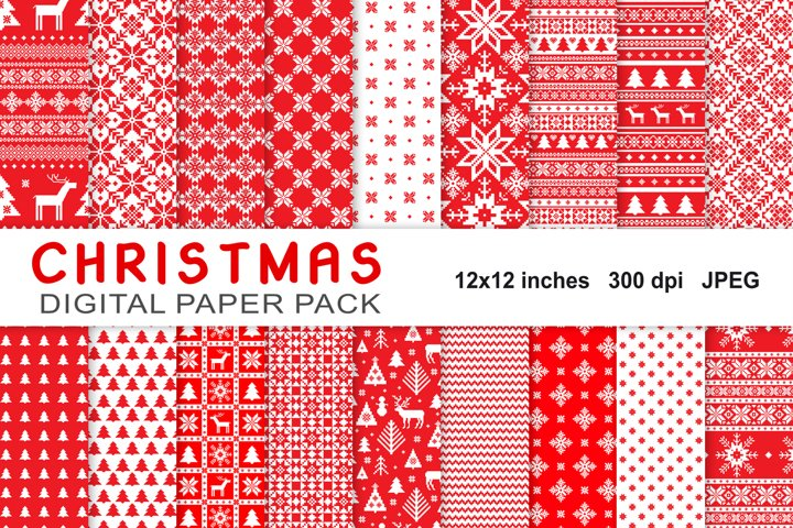 Christmas Digital Paper Pack, knitted seamless patterns