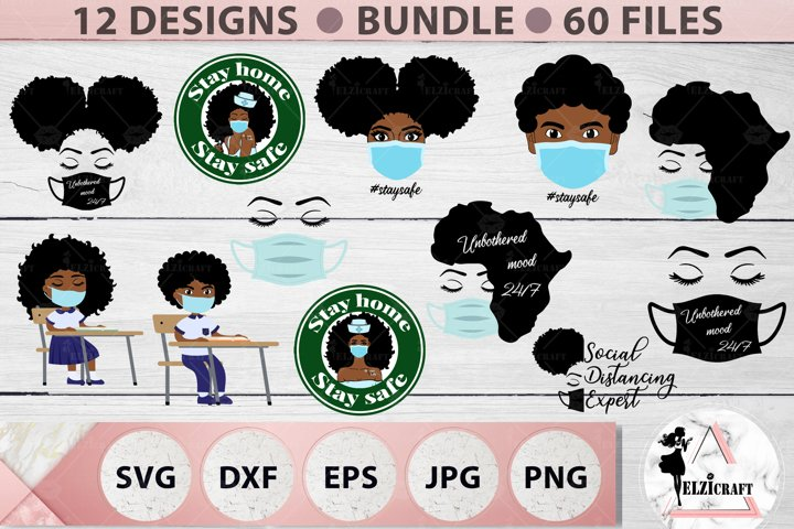 BUNDLE Face Mask, Pandemic Mask, African American, Afro SVG