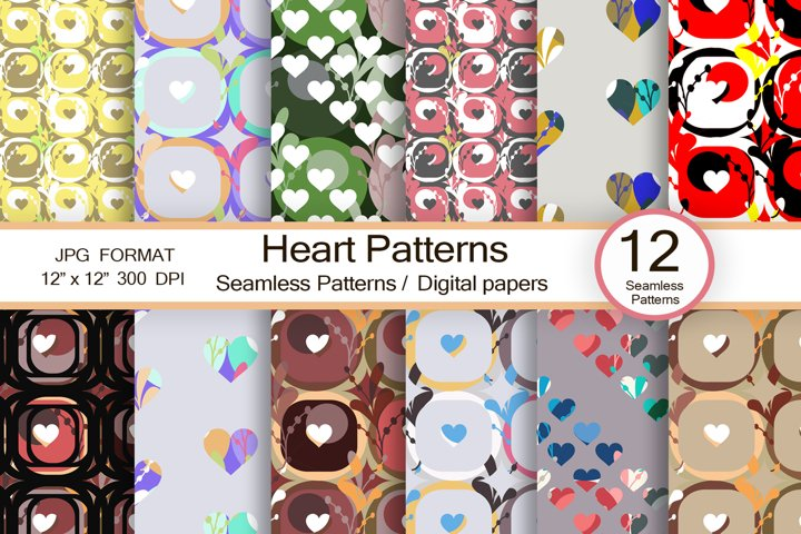 Hearts patterns, scrapbook paper, trendy digital patterns