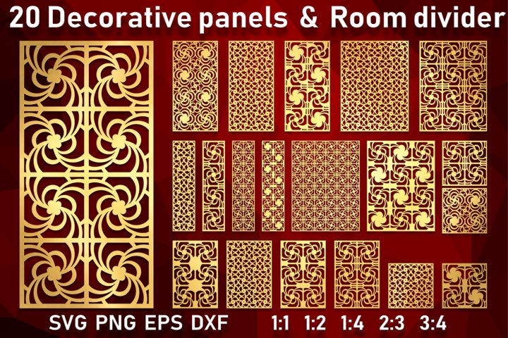20 Decorative panels Wall hanging room divider Stencil