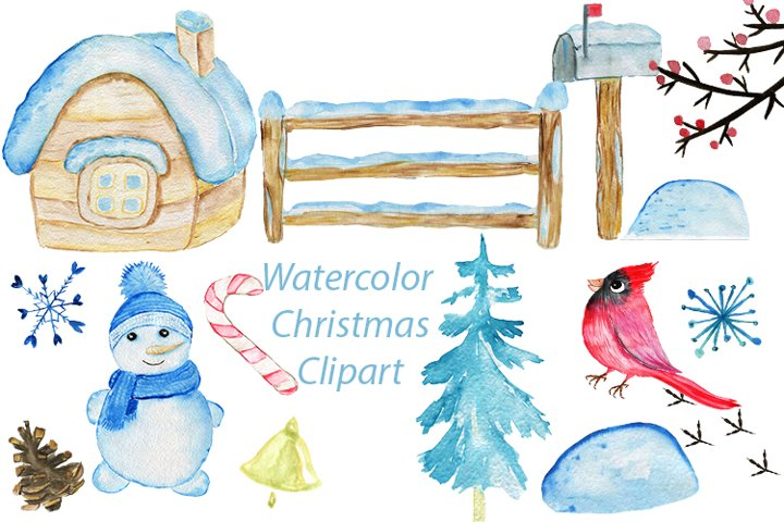Watercolor Christmas Clipart, Illustrations for Christmas