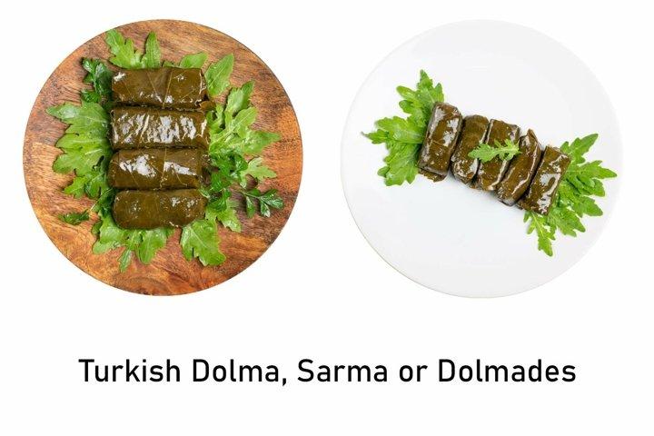 Traditional Turkish Dolma, Sarma or Dolmades Closeup