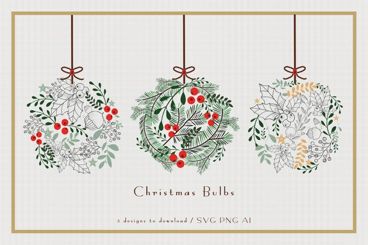 Christmas Bulbs - 3 Vector Illustrations