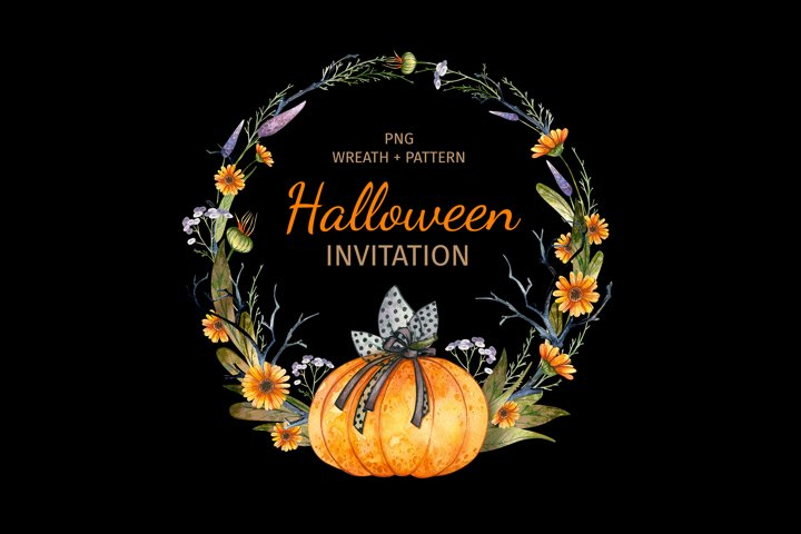 Halloween Party Invitation. Watercolor wreath and pattern