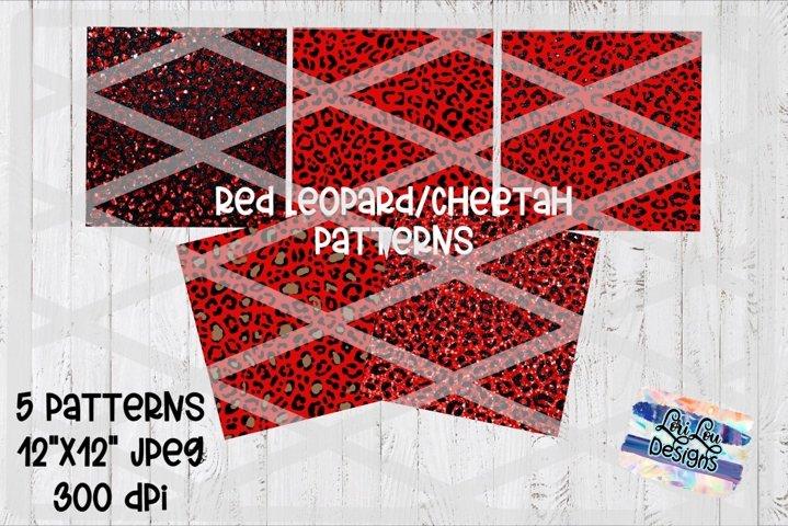 Red Leopard Cheetah Pattern Background Bundle