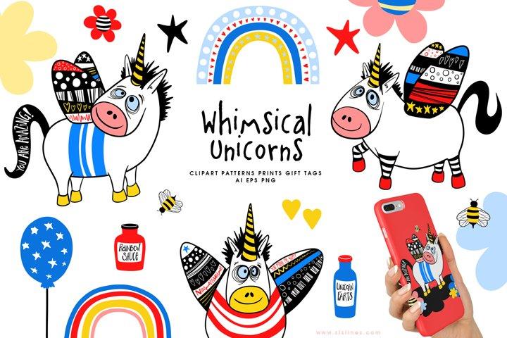 Whimsical Winged Unicorns & Rainbows AI EPS PNG