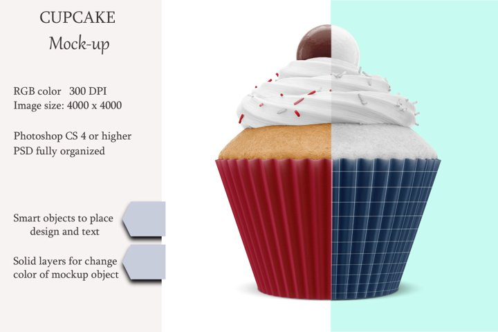 Cupcake mockup. Product place. PSD object mockup.