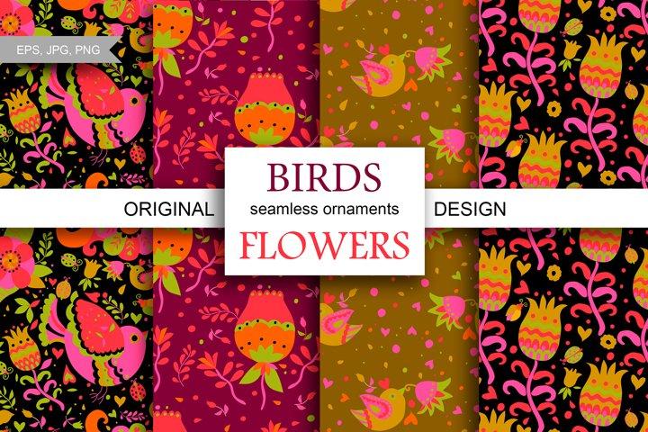 Bird and flower - motifs, patterns