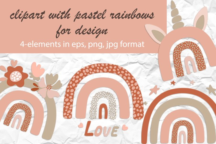 clipart with pastel rainbows for kids design