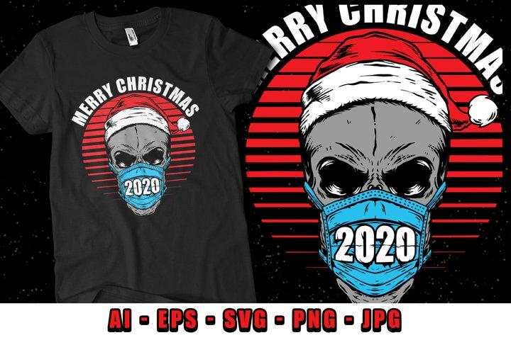 Christmas Skull wearing mask 2020