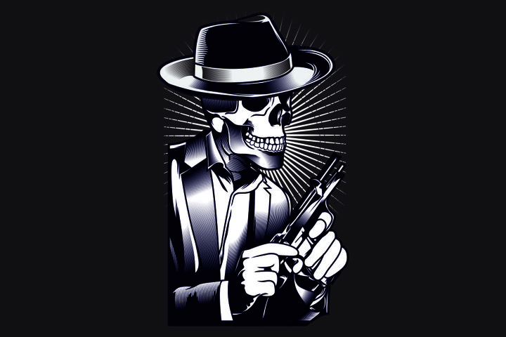 skull mafia with gun