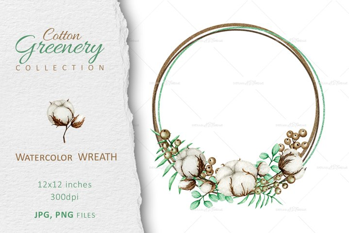 Watercolor Cotton flower & leaves Wreath wedding Clipart