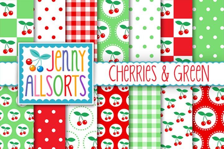 Cherries & Green Patterns, Cute Background Digital Designs