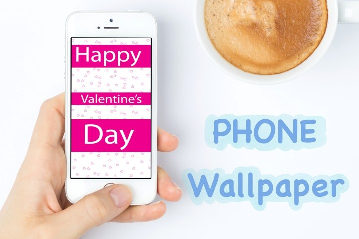 Phone Wallpaper-Happy Valentines Day Pink stripes heart