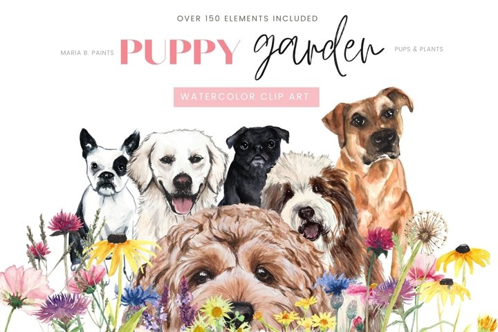 Puppy Garden Watercolor Clipart Set Dog Breeds Florals
