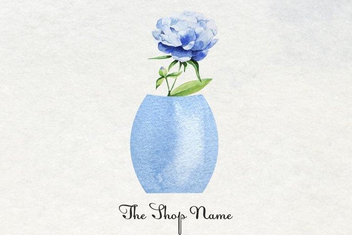 Watercolor Florist Logo, Feminine Flower Logo