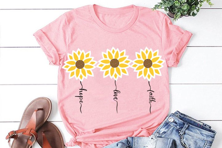 Faith Hope Love Sunflower SVG, Sunflower clipart,