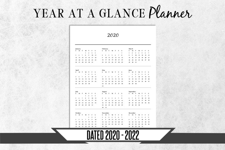 Yearly Calendar Printable Planner Page